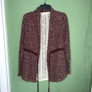 Anthropologie Entro Burgundy Cardigan with Lace S